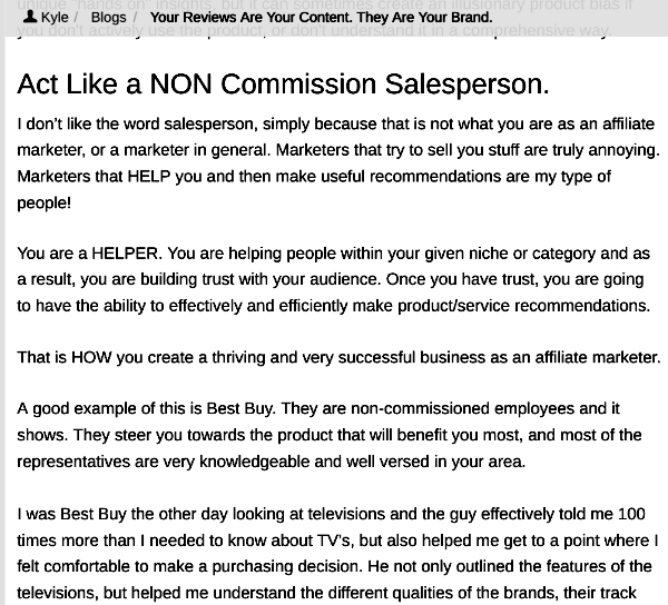 Kyle Gives Solid Advice in Wealthy Affiliate