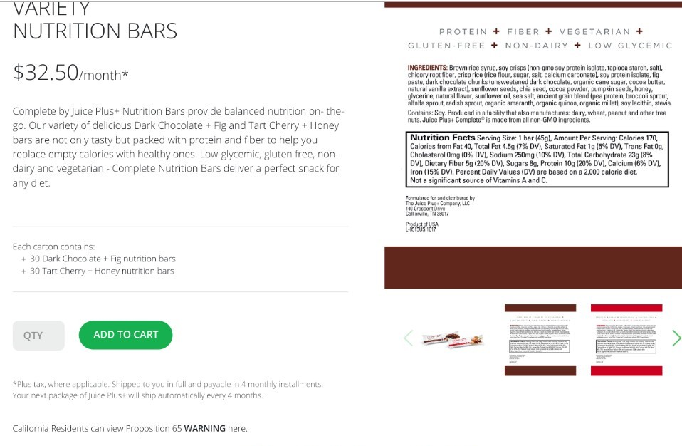 Juice Plus Nutrition Bars