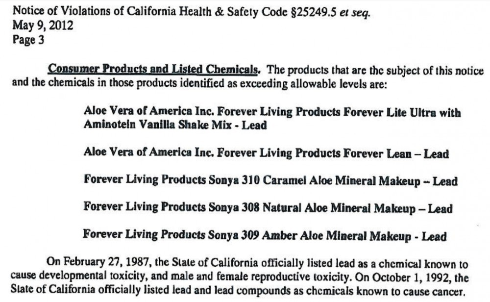 Forever Living Products Contain Lead