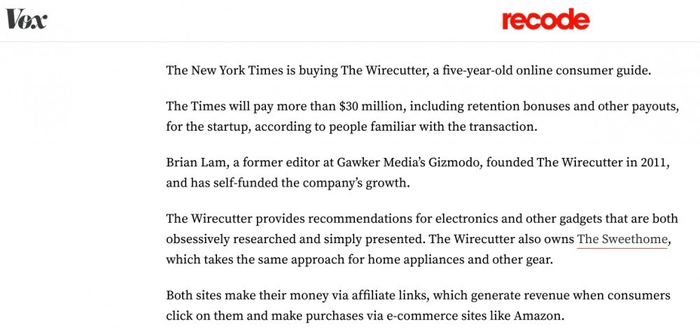The New York Times buys The Wirecutter